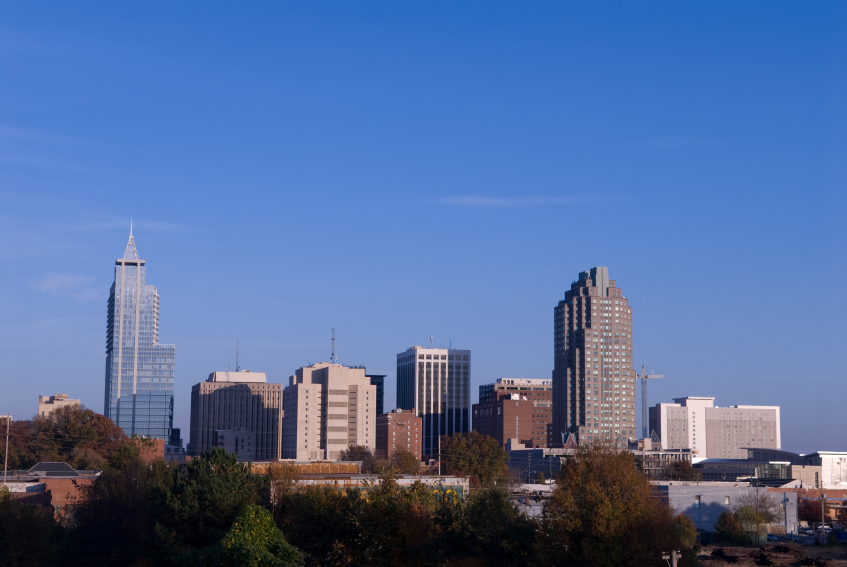 Raleigh skyline with office and commercial buildings