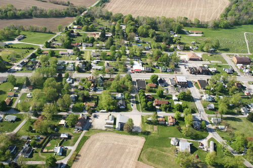 aerial view of a town with mobile homes and residential areas