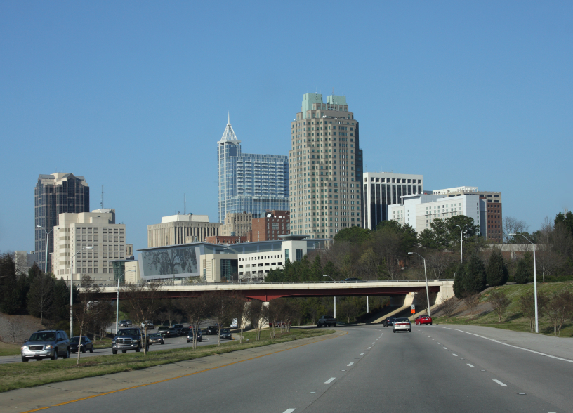 view of Downtown Raleigh from South Saunders Street